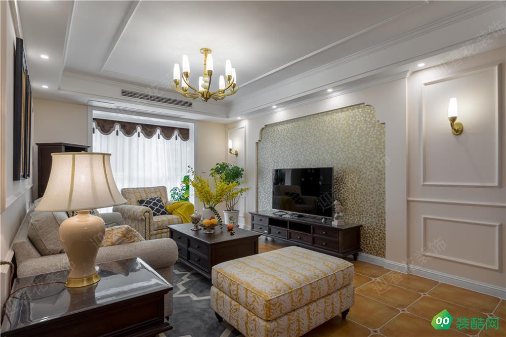 重慶123平米美式風格三室兩廳裝修案例圖片