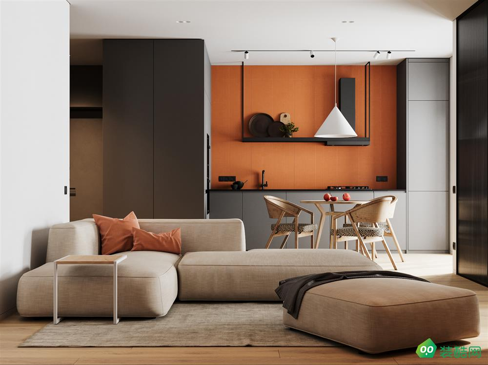 华格章鱼直播间章鱼直播app官网,一居室,活力橙色空间