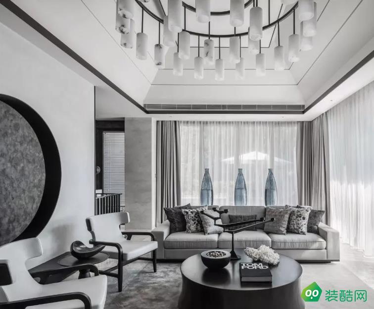 濱江瀾泊灣灰色調新中式風格家裝布置案例