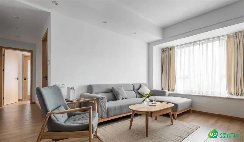 【紅杉樹裝飾】95㎡原木簡約風格裝修,客廳飄窗采光加分!