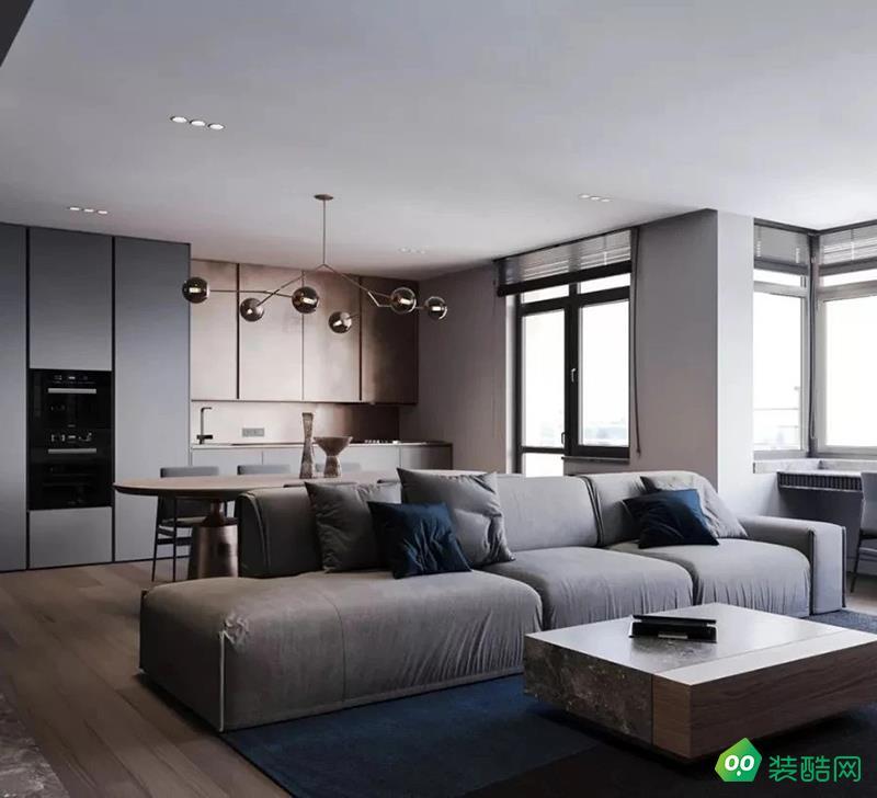 濱江瀾泊灣三房歐式風格灰色調家裝設計