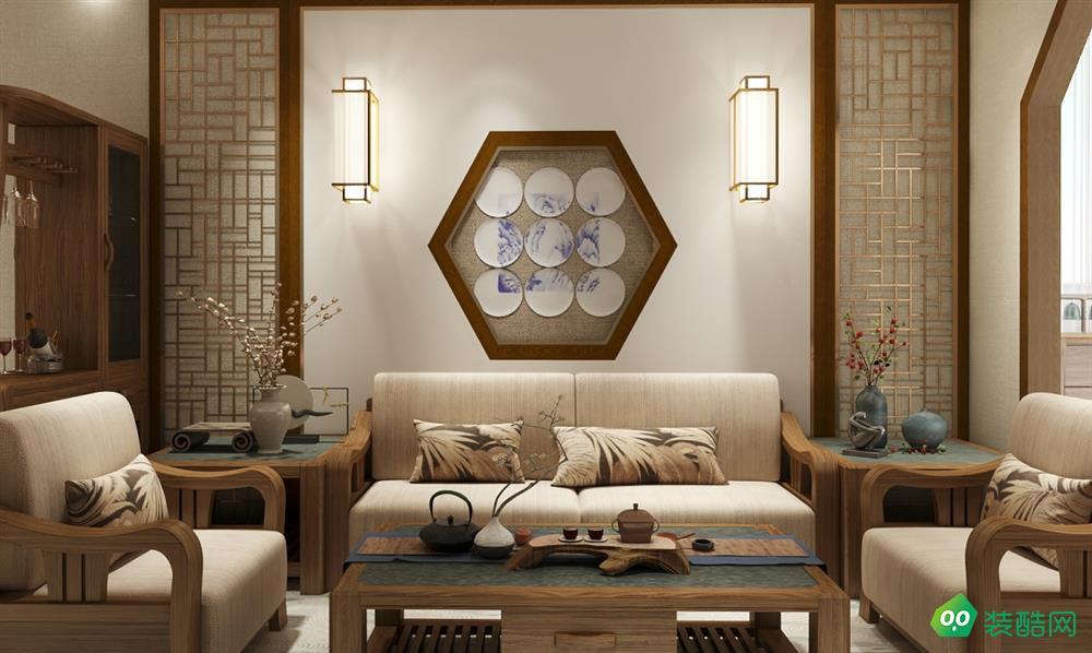 青島樂豪斯裝飾-80㎡中式風裝修效果圖