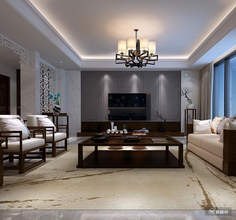雍锦王府别墅大户型装修新中式风格设计案例