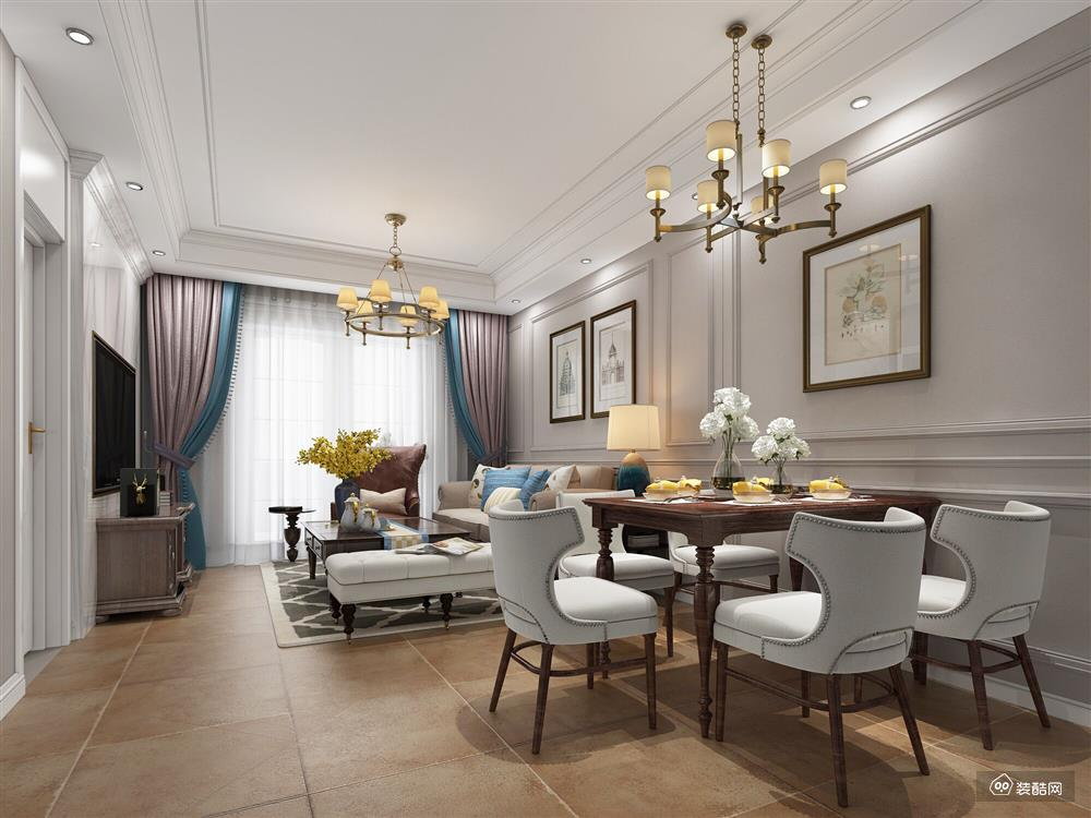 株洲簡約美式三居室94平裝修案例