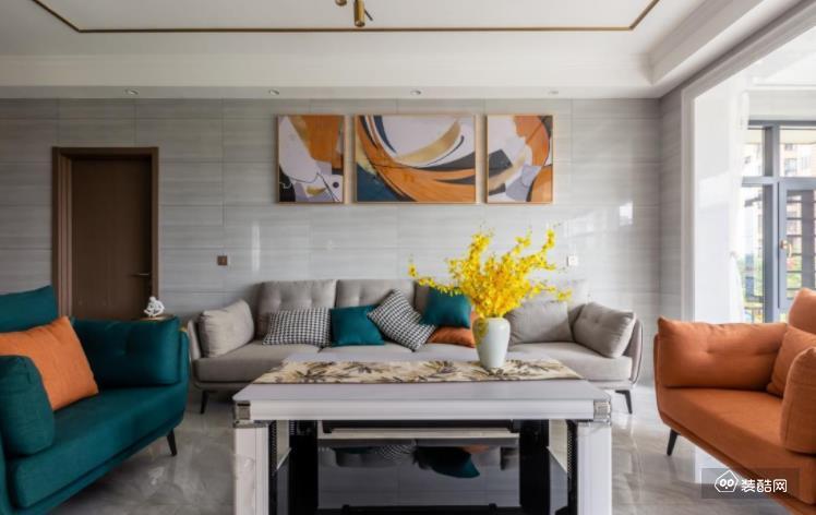 諸暨墨匠裝飾-橙綠點綴活力滿滿的三房125平現代案例