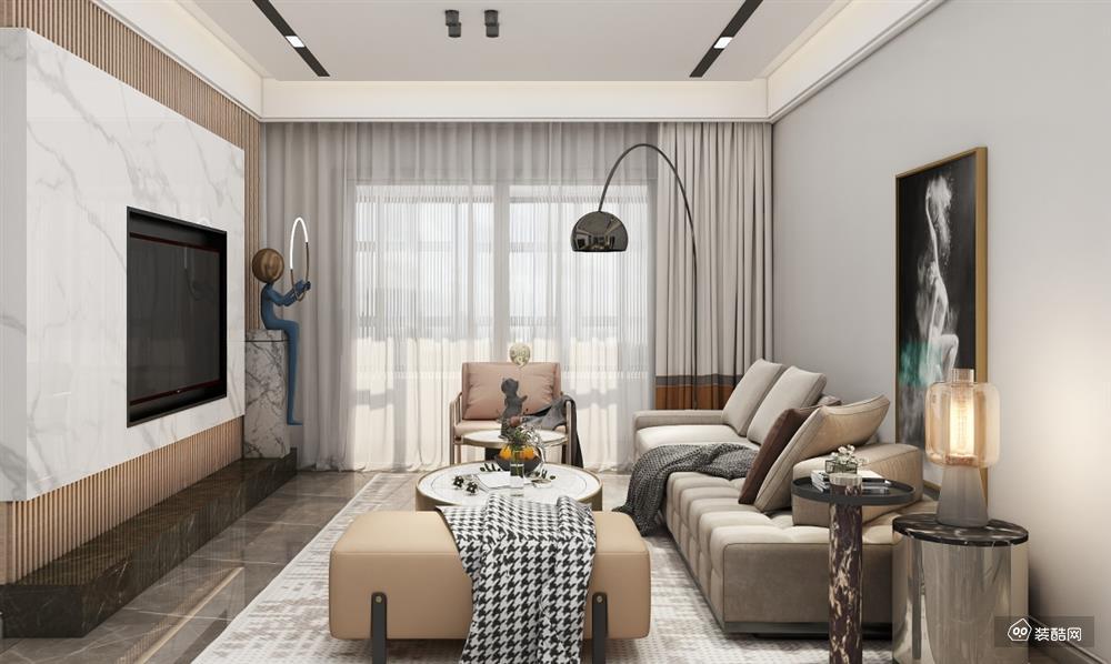 貴陽83平現代兩室一廳裝修效果圖——貴陽啟家裝飾