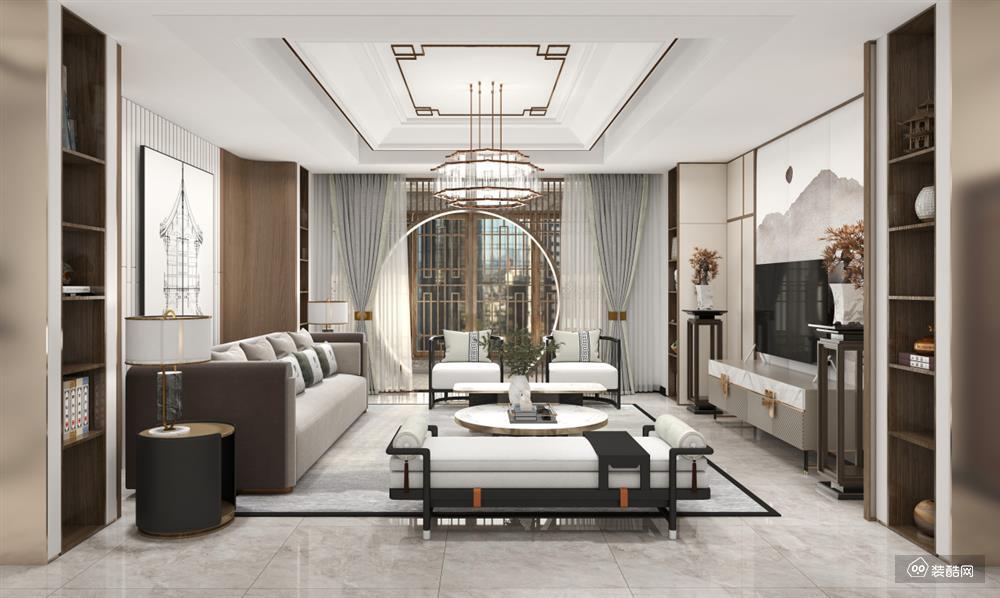 貴陽205平新中式四室兩廳裝修效果圖——貴陽啟家裝飾