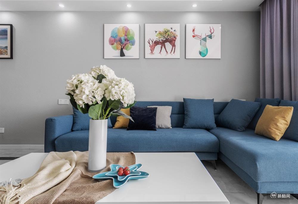 撫順龍躍裝飾-萬達華宅96平米現代風裝修效果圖