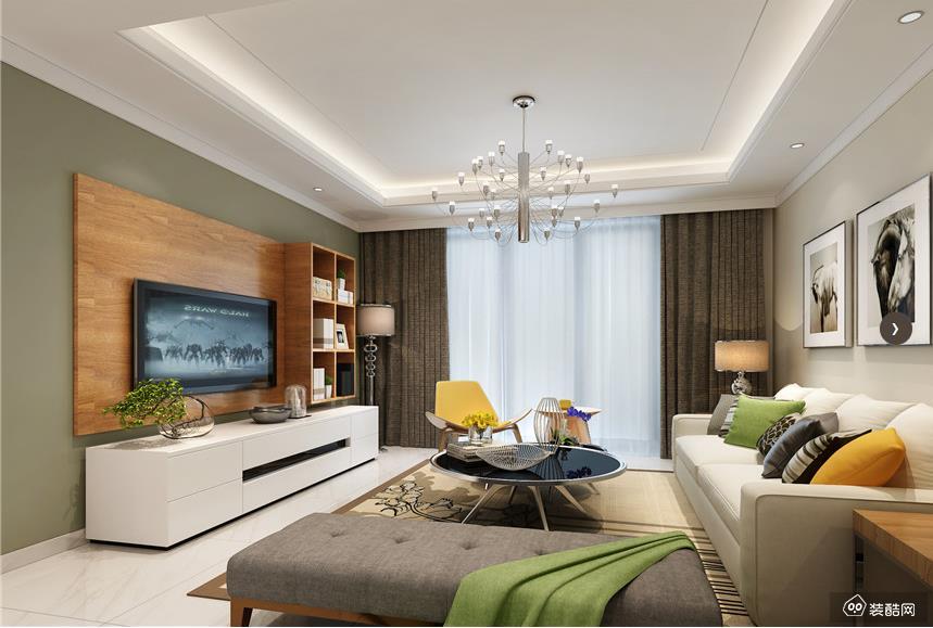 贵阳101平现代小清新风格三室一厅装修效果图