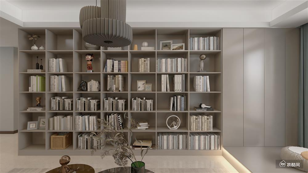 隐仕家居-90平装修效果图-现代大书房式客厅