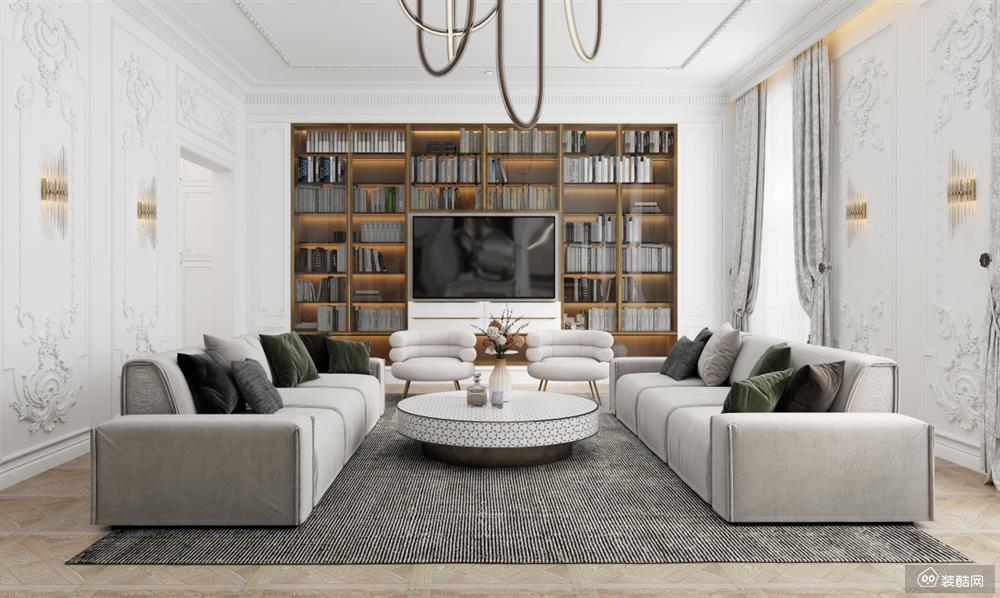六盘水110平欧式风格三室一厅装修效果图