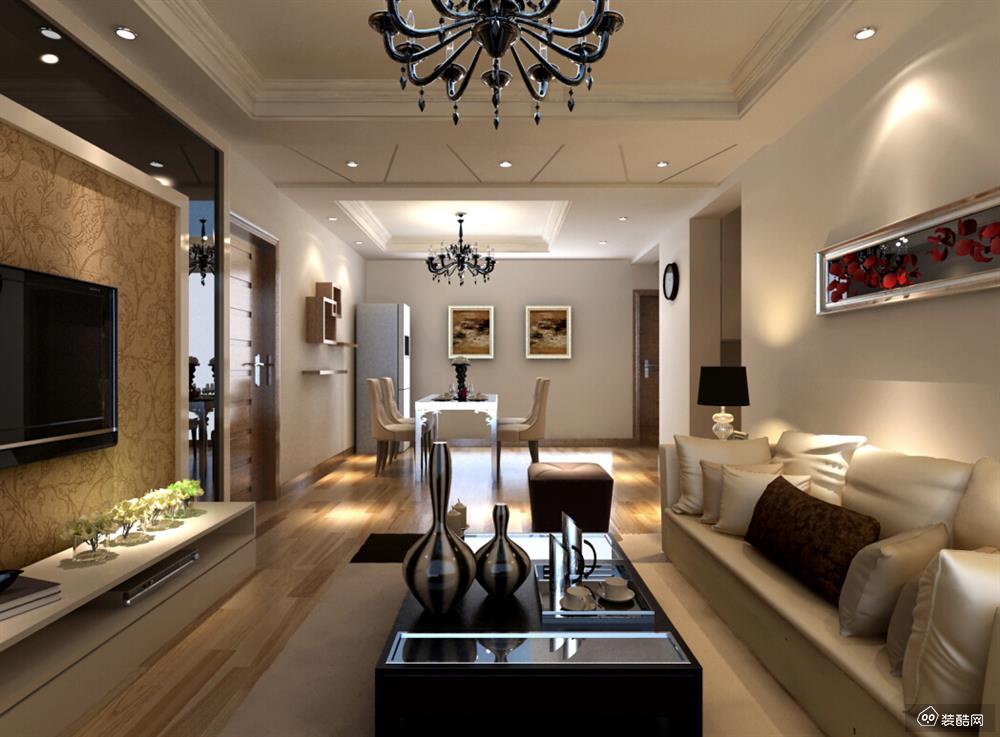 兴义95平米轻奢风格三室一厅装修效果图