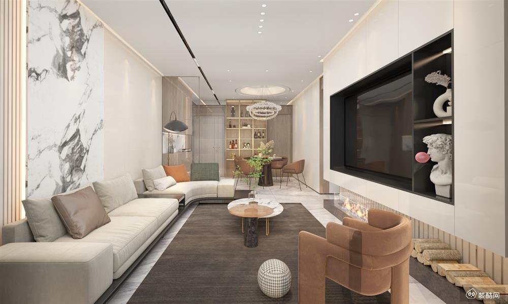 德阳94平现代风格三室一厅装修效果图