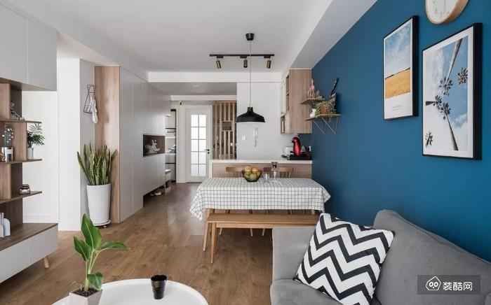 90㎡北欧两居室,雾霾蓝+原木