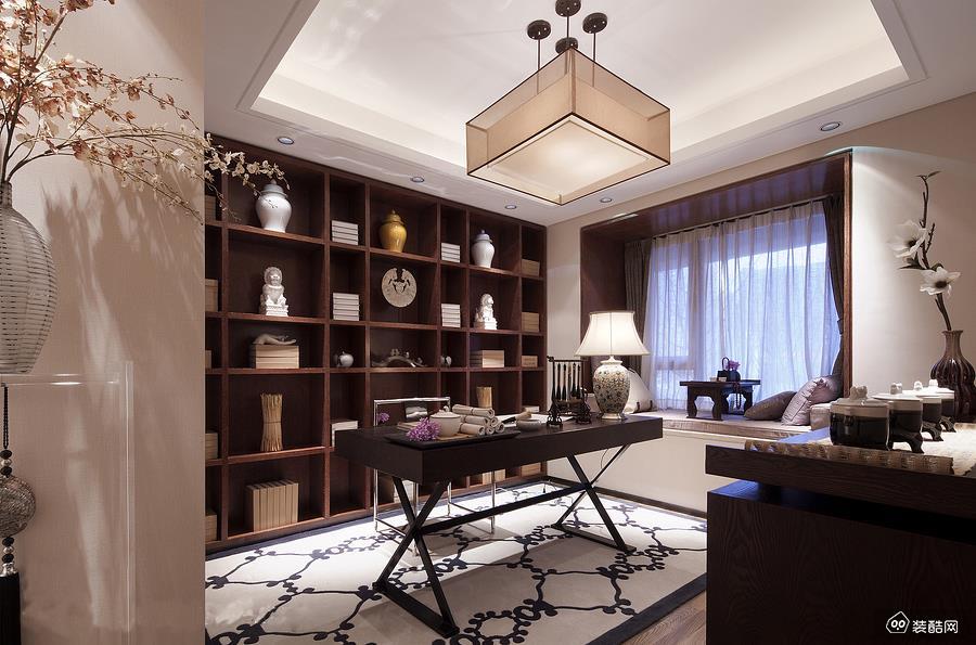 路劲隽澜湾138平四居室中式风格设计案例
