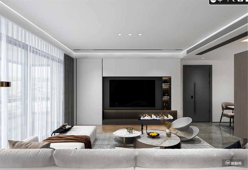锦绣园-1230平现代时尚装修,灰木色与黑白灰