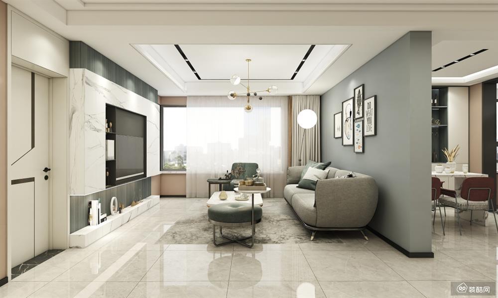 长春95平三室一厅简约风格装修效果图
