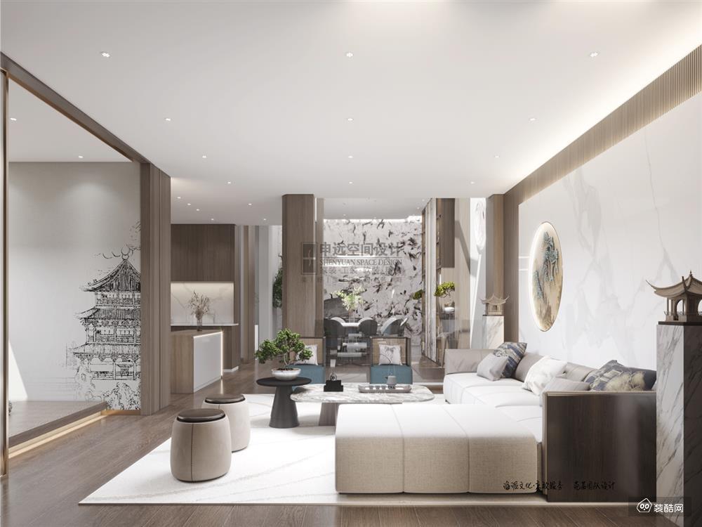 棠颂别墅,480㎡的新中式住家风格