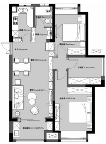 104平三居室�b修�A算多少合�m?20�f打造高�n�F代�L