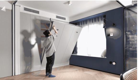 次卧放墨菲床,设计折叠门