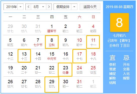 ?2019年8月装修黄道吉日有哪几天?8月装修吉日汇总表