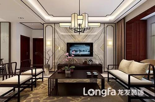 新中式风格的客厅在整个风格装修中所属中心,墙面石材演绎的意