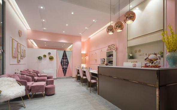 6742平美容美甲店装修多少钱?9万全包小户型粉色