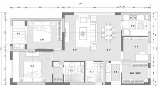 108平简约三居室装修多少钱?25万精装高质感简约风