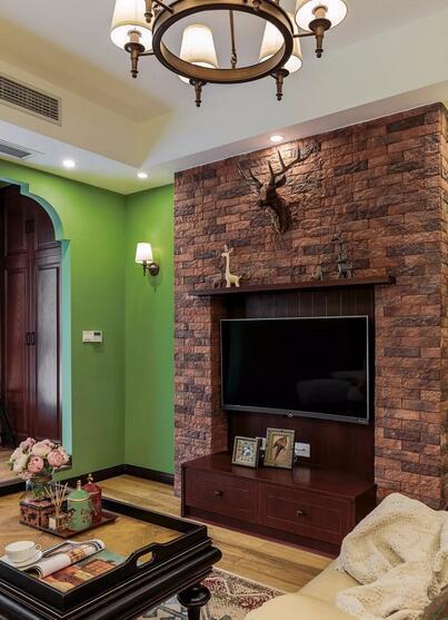 装修日记:基装5万装92平复古美式,森林绿巧搭复古红棕
