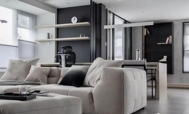 118平黑白灰木简约风,打造实用多功能大横厅