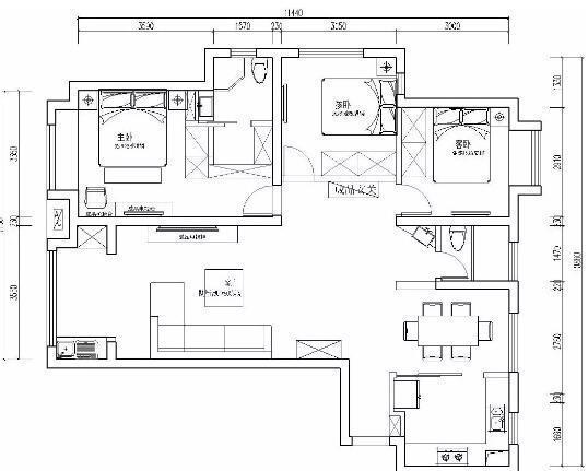 122平方装修多少钱?20万打造高级灰现代简约三居室户型图