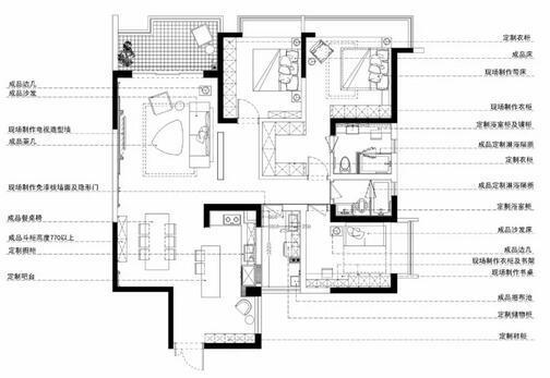 135平三室两厅装修户型图